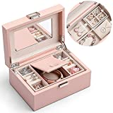 Vlando Jewelry Box for Girls Women, 2 Layer Travel Jewelry Organizer Case, PU Leather Medium Jewelry Storage with Removable Tray for Necklace Earrings Rings Bracelets, Birthday Vintage Gift, Pink