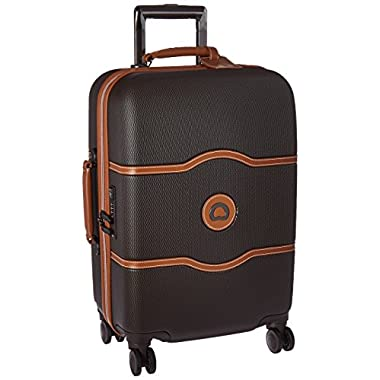 Delsey Luggage Chatelet Hard+, Carry On Luggage, Lightweight Spinner Suitcase, Chocolate Brown