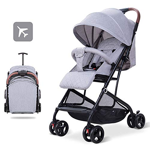 LIZONGFQ Pull Rod Type Baby Stroller Ultra Lightweight Compact Baby Stroller One-Hand Easy Fold Carries Up to 30 Pounds Best Used for Airplane & Car Travel Safe, Comfortable & Smooth Ride