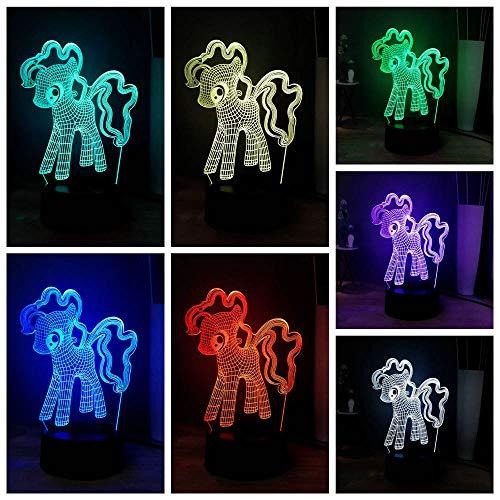 3D Optique Lampe De Bureau Bande Dessinée Terre Poneys LED Sommeil Nuit Lumière Cutie Mark Sourire Enfants Cadeau De Noël d'anniversaire