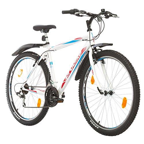Multibrand, PROBIKE PRO 27.5, 27.5 Zoll, 480mm, Mountainbike, Unisex, 21 Gang Shimano, Kotflügel vorne und hinten, Weiß Grau-Grün (Weiß/Rot-Blau (Kotflügel))