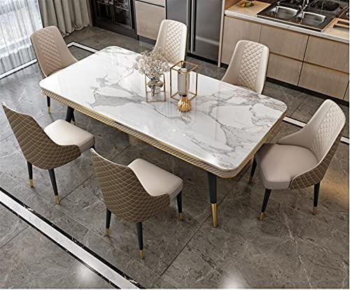 SHUJINGNCE Comptoir en marbre Table de Salle à Manger et Chaise à Manger Table à Manger de Style de Luxe rectangulaire (Color : 160x90cm)