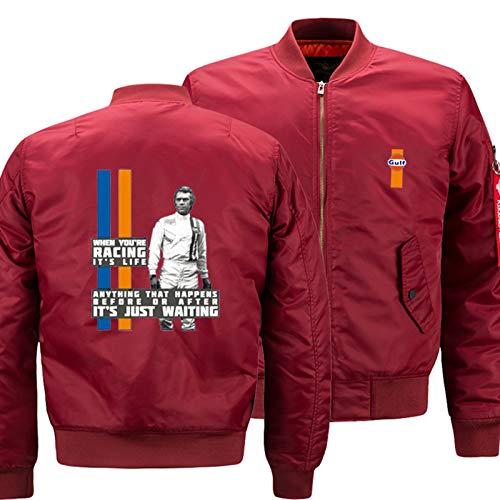 Giacche da Uomo per Steve McQueen Zip Up Manica Lunga Casual Casual Bomber Giacca Outwear Cappotti Uniformi Track Giacca Giacca Giacca Guida Guida DEGGINETS,Red-X-Large