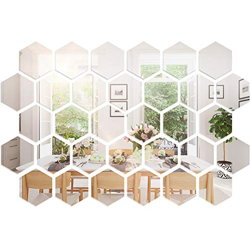 Removable Acrylic Mirror Setting Wall Sticker Decal for Home Living Room Bedroom Decor (10 x 8.6 x 5 cm)