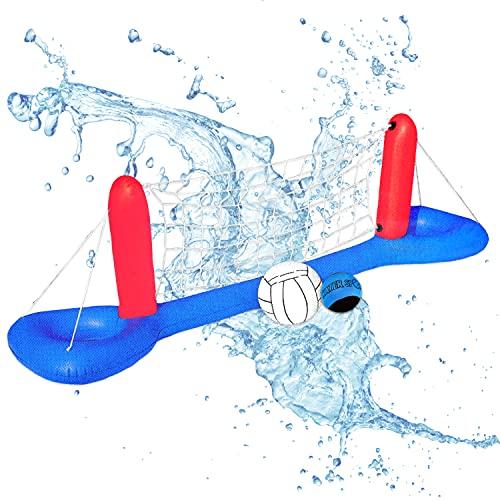 Aufblasbares Pool Volleyballnetz incl. 2x Wasserball | XXL Volleyball Game Set | Volleyballnetz aufblasbar Wasservolleyball Wasserspiel ideal für den Pool, Garten, Outdoor für Kinder & Erwachsene