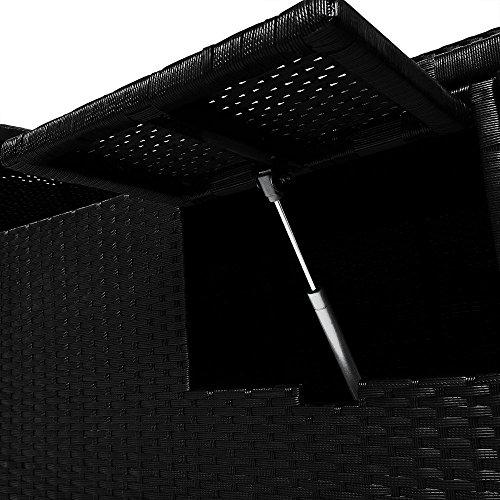 Deuba | Bain de Soleil Double • 2 Personnes • Polyrotin Noir • Coussins Beige 7 cm • avec Tables • réglable | Transat Double, lit, Chaise Longue