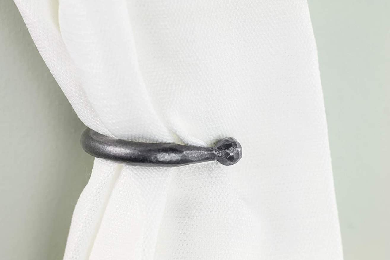 Small Curtain Tie Back - Black Dog Ironworks | Curtain Holdbacks, Hand Forged Iron window treatment | Perfect for light curtains and updating your interior | Ball end style, one pair