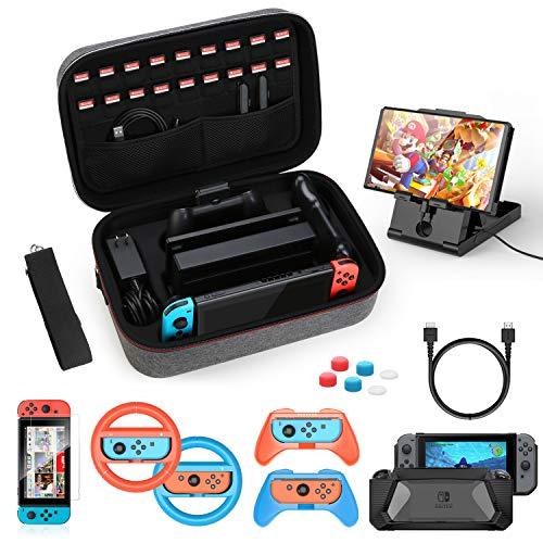 HEYSTOP Kit de Accesorios 12 en 1 para Nintendo Switch, con Funda de Transporte, TPU Cubierta Protectora, Joy-con Grip y Volante, Soporte,Protector de Pantalla, Apretones de Pulgar, Cable USB (Gris)