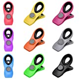 9Pcs Chip Bag Clips Magnetic Refrigerator Clips - Multicolored Food Sealing Clips, Food Clips use for Food and Kitchen Storage, Chip and Snack Bag Clips, Fun Fridge Clips