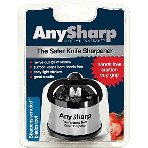 AnySharp Knife Sharpener with PowerGrip, Silver