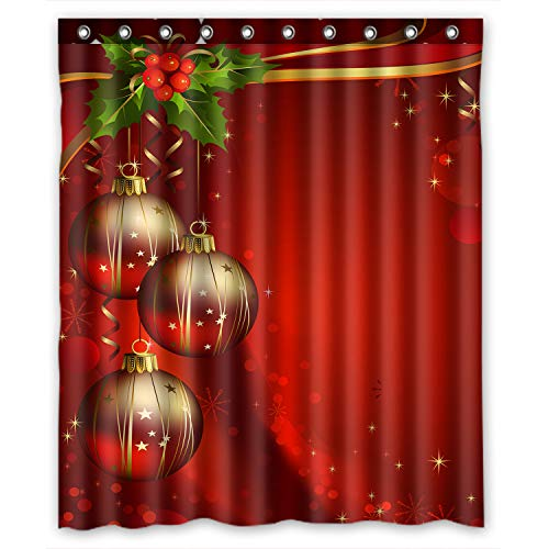 Shower Curtain Custom Merry Christmas Xmas Festival Bälle Duschvorhang 152,4x 182,9cm Zoll