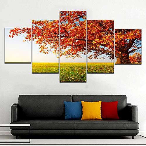 yuandp 5 plankjes/stuks HD print herfst bomen herfst gras landschap poster canvas kunst schilderij voor huis woonkamer decoratie L-30x40 30x60 30x80cm Frame