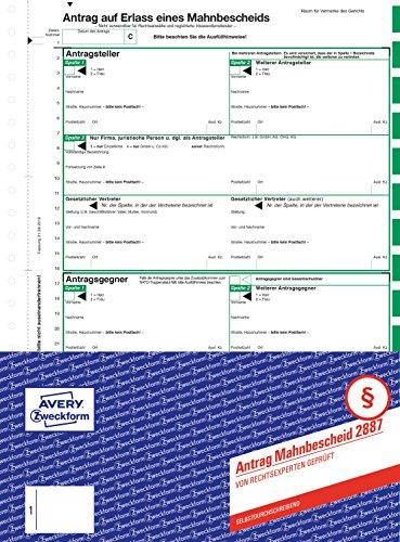 AVERY Zweckform 2887 Mahnbescheid Antrag (A4, selbstdurchschreibend, von Behörden anerkannt, mit Ausfüllhilfe, für Deutschland zum Einsetzen bei maschineller Abwicklung von Mahnverfahren) 1 Satz grün