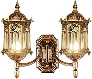 Mopoq 2-lights Traditional Victoria Vintage Waterproof Outdoor Wall Light Fixture E27 Edison European Antique Aluminum Met...