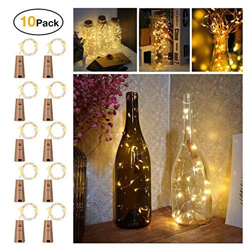 10 Stück LED Flaschenlicht, Sanniu 20 LEDs 2M Lichterkette Kupferdraht batteriebetriebene Weinflasche Lichter mit Kork Schnurlicht für DIY Deko Weihnachten Party Urlaub Stimmungslichter (Warmweiß)