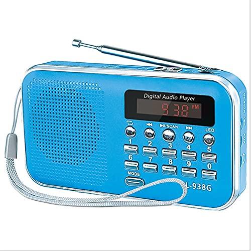 Linterna de radio portátil, portátil, digital, Fm, USB, TF, MP3, pantalla LED, antena retráctil, apta para escuchar música (azul)