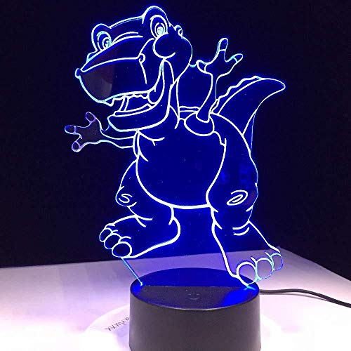3D Luz nocturna para niños LED Luz nocturna Funny Dinosaur decoración de dormitorio regalo lámpara de noche creativa regalo Con carga USB, control táctil de cambio de color colorido