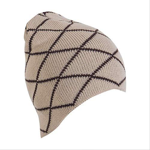 MZHAOANHE Chapeau Unisexe à Carreaux Chapeaux Femmes Tricoté Bonnet Baggy Automne Hiver Chapeau Ski Casquette Chic Slouchy, Beige