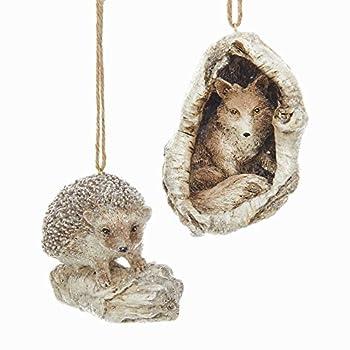 Woodland Fox and Hedgehog 3.5 Inch Holiday Ornament Figurines Set of 2