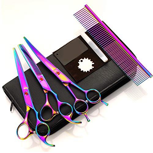 PENVEAT Poils d'animaux Cut coloré Ciseaux Coupe-Ongles Plat à Dents Cut Pets Lot d'accessoires de beauté kit de toilettage pour Chiens Ciseaux de Coupe de Cheveux de Taille Unique C