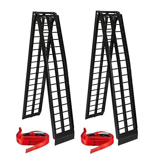 AutoForever 2Pcs 10 ft Folding Heavy Duty Aluminum Truck Ramps Compatible with ATV UTV Dirt Bike Truck Motorcycle Arcingle Arched Ramps Loading 1200 lb Black