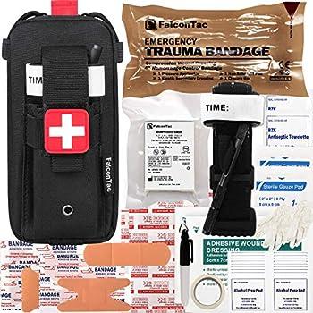 FalconTac Everyday Carry Trauma Kit IFAK Emergency Treatment Care EMT First Aid Kit  Black