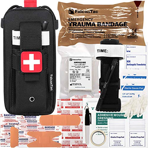 FalconTac Everyday Carry Trauma Kit IFAK Emergency Treatment Care EMT First Aid Kit (Black)
