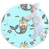 PLOKIJ Alfombra redonda antideslizante para niños, círculo circular, lavable a máquina, linda sirena, pez unicornio, gato