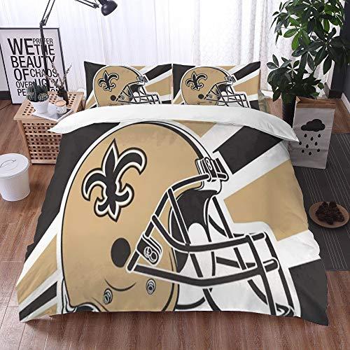 XiHi Duvet Cover Set, Bed Sheets, Rugby team New Orleans Saints Solid color background Artistic creative theme,1 Duvet Cover Set 200 * 200 cm,+2 pillowcase 50x80cm