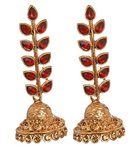 Pahal - Pendientes largos con diseño de hoja de Kundan roja, estilo jhumka, estilo indio, estilo bollywood, joyería para mujer