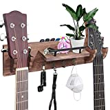 TCJJ Guitar Wall Mount, Double Guitar Wall Hanger with Storage Shelf and Pick Holder, Wood Guitar Holder Wall Mount Guitar Rack for Acoustic Electric Guitar, Ukulele, Banjo, Guitar Accessories