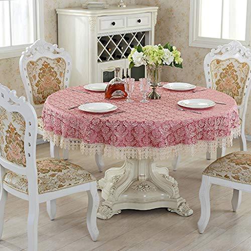Rond tafelkleed met Kant tafel dekken Bloemen Patroon Jacquard Tafellaken Keuken Eettafel Decoration (Color : Pink, Size : 130cm round)