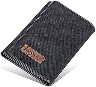 محفظة جلدية نحيفة للرجال مع 8 فتحات لبطاقات الائتمان وفتحة لبطاقة الهوية مع مشبك (اسود)