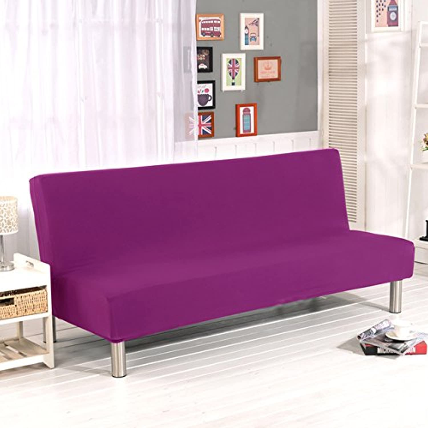 Solid color Elastic Sofa Cover No armrest Removable Stretch Slipcovers for Couch All-Inclusive Folding Sofa Bed Cover 180-210cm   02, S(Small Size)