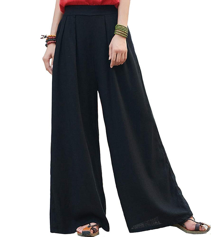 レディース 綿麻パンツ キュロットワイド パンツ ゆったり 長ズボン 上質 コーディネート自由自在シンプル ズボン ロング 無地 ゆったり ポケット付き フリーサイズ