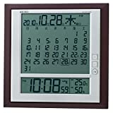セイコー クロック 掛け時計 置き時計 兼用 月めくりカレンダー 電波 デジタル 六曜 温度 湿度 表示 茶 メタリック SQ421B SEIKO