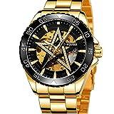 Excellent Reloj para Hombre Reloj mecánico de Estrella de Cinco Puntas automáticas para Hombres Reloj de Pulsera Casual con Manos Luminosas dial Redondo 3atm 30 Metros Impermeable,C04