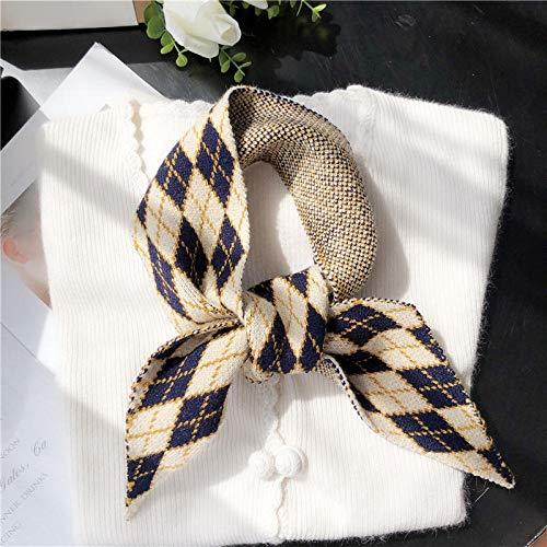 ZAMi Bib weiblichen Winter Strickstreifen Schal Student Dekoration geometrischen kurzen Wollschal-Blau und Weiß
