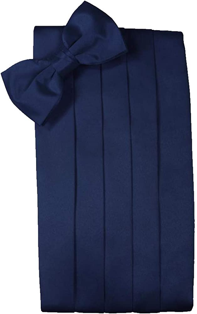 Men's Solid Satin Cummerbund & Bow Tie Set - Many Colors (Peacock)