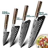 Juego Cuchillo láser lijado cuchillo de cocina cuchillos del cocinero japonés 7Cr17 440C alto contenido de carbono del acero inoxidable de imitación de Damasco cuchillos (Color : K)