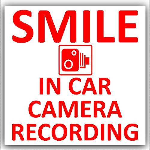 1 caméra de voiture avec enregistrement 2–Sticker-Rouge/blanc-CCTV signe-camion, camionnette, camion, Bus Taxi Cab et Minicab, Mini