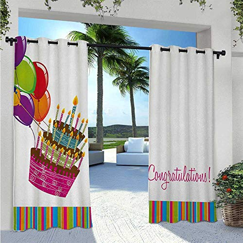 Print Curtains Pink Written Congratulations Graphic Cake Candles Balloons Birthday Art Print Outdoor Porch Curtains Durable, Water-Resistant, Opaque Multicolor W55 x L63 Inch