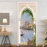 Pintura decorativa pegatinas de puerta 3d Paisaje de ciudad de agua de arco de estilo europeo....