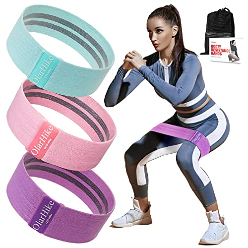 OlarHike Resistance Bands Set for Women Butt and Legs, Exercise Workout Elastic Bands for Booty, Fabric Glute Hip Thigh Cotton Bands for Yoga Working Out, Wide Circle Non-Slip Resistance Squat Band