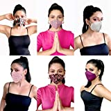 MASK PLUS 3 layer Printed Cotton Face Mask for Women- ETHNIC PACK OF 6 Reusable & Washable Anti Pollution Free size Ladies Stylish Mask