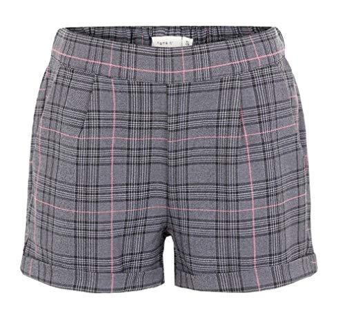 NAME IT NKFOROLINE Shorts für Mädchen, Schottenmuster, Grau, Grau 158 cm