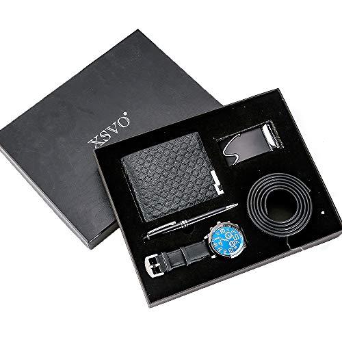 ZOZIZZ Conjunto de Regalos para Hombres Bellamente empaquetado Reloj + Billetera + cinturón de Cuero + Pluma Creative Combinación Minimalista Set-4Pes / Set