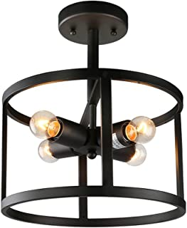 LNC Semi Flush Mount Ceiling Light, Farmhouse Drum Chandelier for Living Room Bedroom, Kitchen, Hallway, A02969, Black