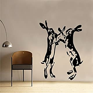 Hares Boxing Farmhouse Shabby Chic Vintage Wall Sticker Art SC016 (60cm x 82cm) by Kult Kanvas
