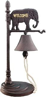 Sungmor Vintage Cast Iron Desktop Hand Ringing Bell Elephant Shape Dinner Bell | Wrought Iron Rattle Bell Tabletop Ornaments | Ideal for Bars,Restaurants,Cafes,Villas,etc.